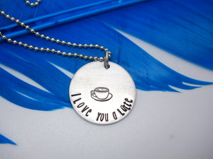 I Love You a Latte Necklace | Coffee Necklace, Front View