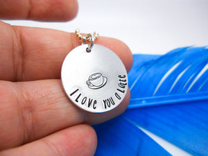 I Love You a Latte Necklace | Coffee Necklace, In Hand