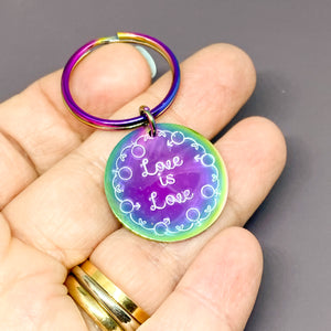 Rainbow Love is Love key chain, LGBTQ rainbow unity, LGBTQIA