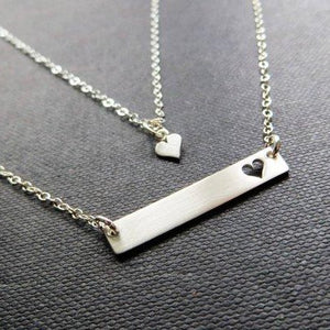 Mother daughter bar and heart necklace set, Sterling silver