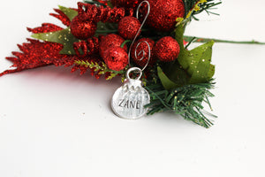 Small pewter Christmas ball ornament, Personalized Christmas Ornament