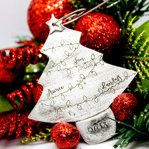 Pewter Personalized Christmas tree ornament with Christmas lights