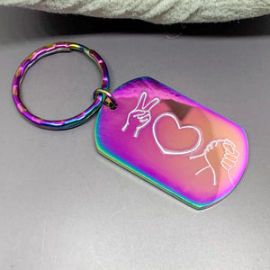 Rainbow Peace Love Unity key chain, LGBTQ rainbow unity, LGBTQIA