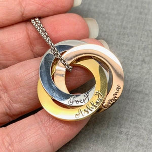 Personalized mixed metal 3 Russian ring necklace, 3 ring name necklace