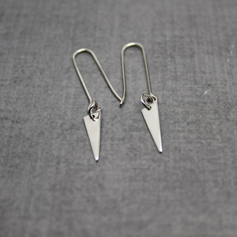 Sterling silver triangle point earrings
