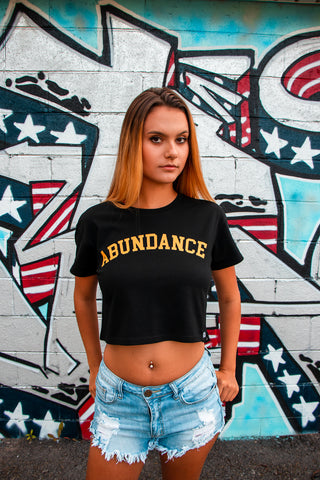 ABUNDANCE CROP TOP - BLACK/YELLOW