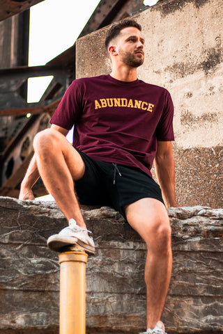 ABUNDANCE TEE - BURGUNDY/YELLOW