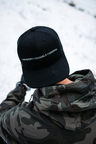 HUNGRY HUMBLE HAPPY 6 PANEL TRUCKER SNAPBACK - BLACK/GREY