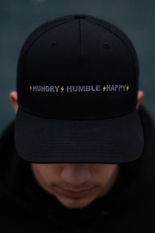 HUNGRY HUMBLE HAPPY 5 PANEL SNAPBACK - BLACK/GREY/GOLD