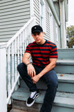 CLASSIC STRIPE TEE - NAVY/RED