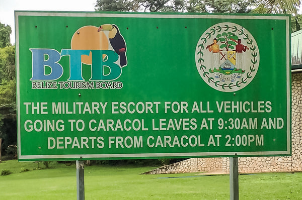 caracol, belize, checkpoint, military escort
