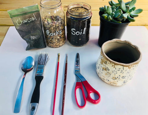 Tools & Material for planting a succulent garden, The Botanical Journey