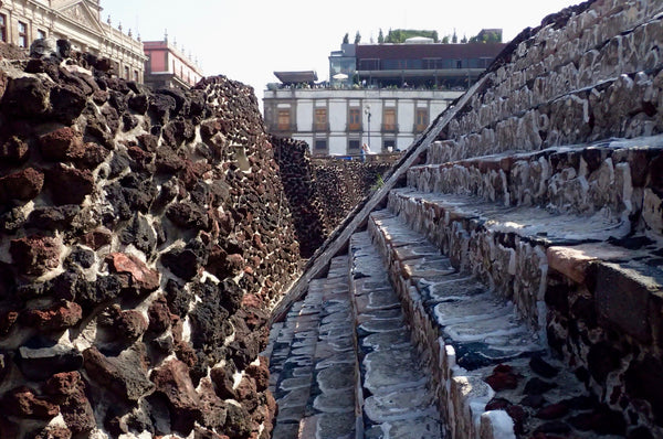 The Great Pyramid of Tenochtitlan, Mexico City Aztec Ruins, Templo Mayor, Plaza Mayor, Stairs of the Great Aztec Temple
