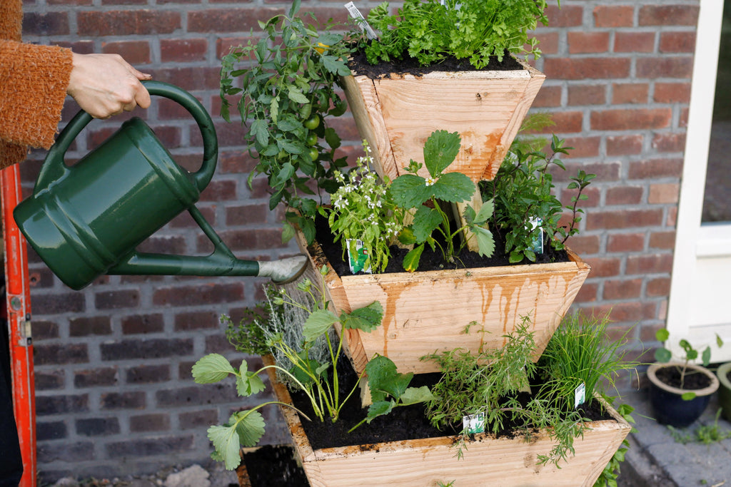 Geeft de planten water in de stapeltuin