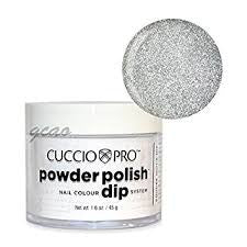 Cuccio Powder Polish 1.6oz Platinum Silver Glitter, 5561