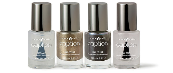 Young Nails Caption Holiday Kit - 2 Caption Polishes, 1 Base and 1 Top Coat