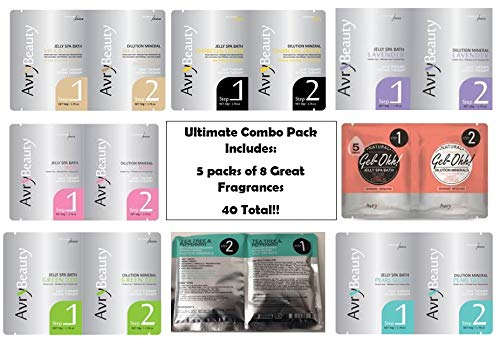 Jelly Spa Bath by Avry Beauty Jelly Pedi - Ultimate Combo with 5 of Each Fragrance (40 Total) Including 2 New Fragrances! ( Tea Tree & Peppermint and Sweet Citrus)