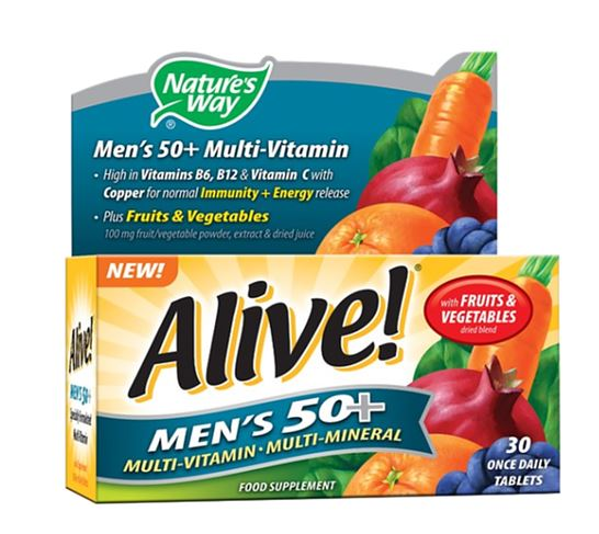 Natures Way Alive! Men's Multi-Vitamin and Mineral (50+) Tablets