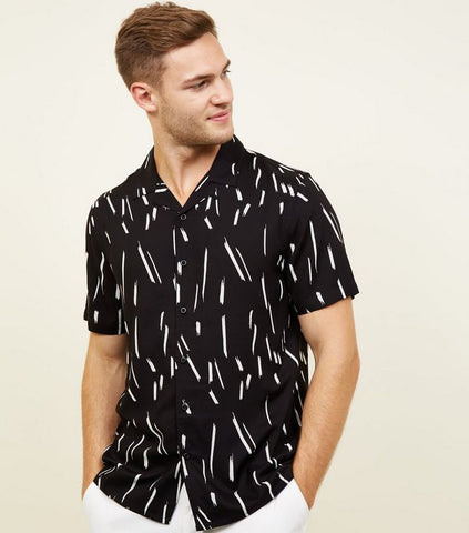 Black Brush Stroke Print Viscose Shirt