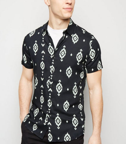 Black Geometric Print Viscose Shirt