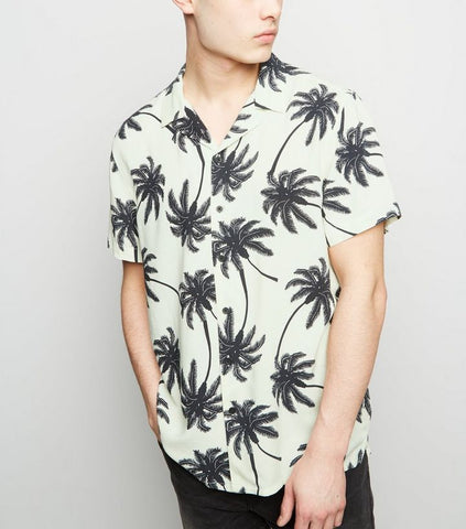 Black Palm Print Collar Shirt - Limited