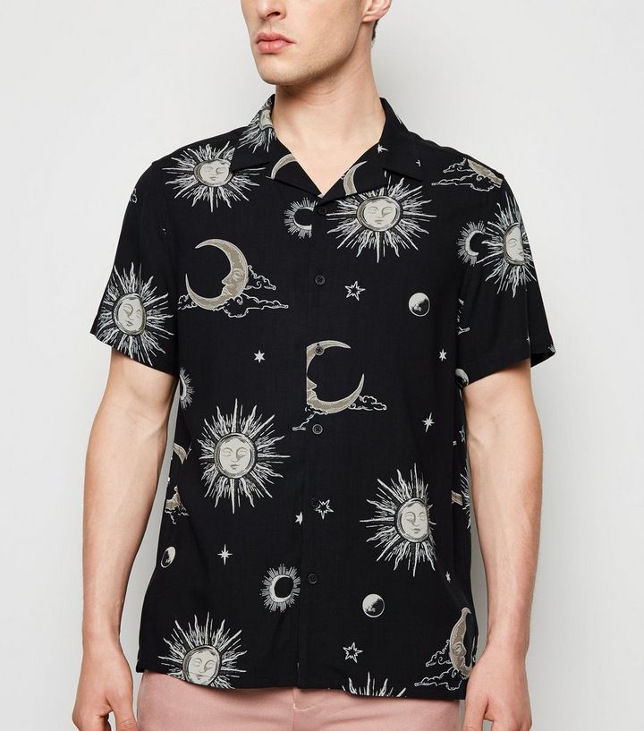 Black Sun and Moon Print Revere Collar Shirt