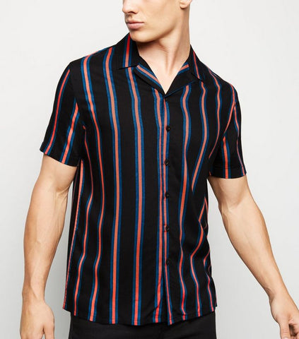 Black Vertical Stripe Short Sleeve Shirt