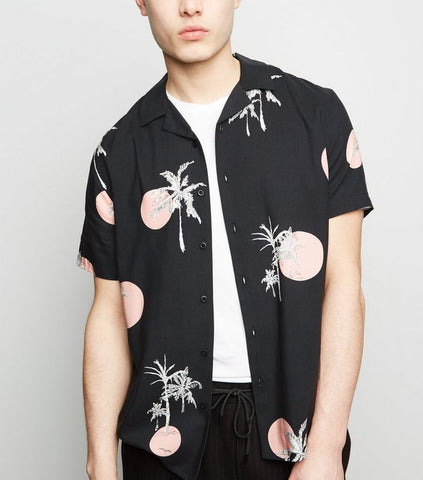 Dark Grey Sun Palm Print Revere Collar Shirt