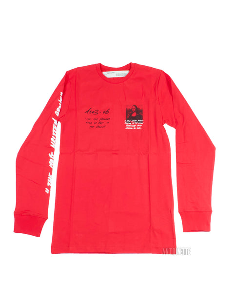 Off-White SS19 Red Mona Lisa Long-Sleeve Shirt