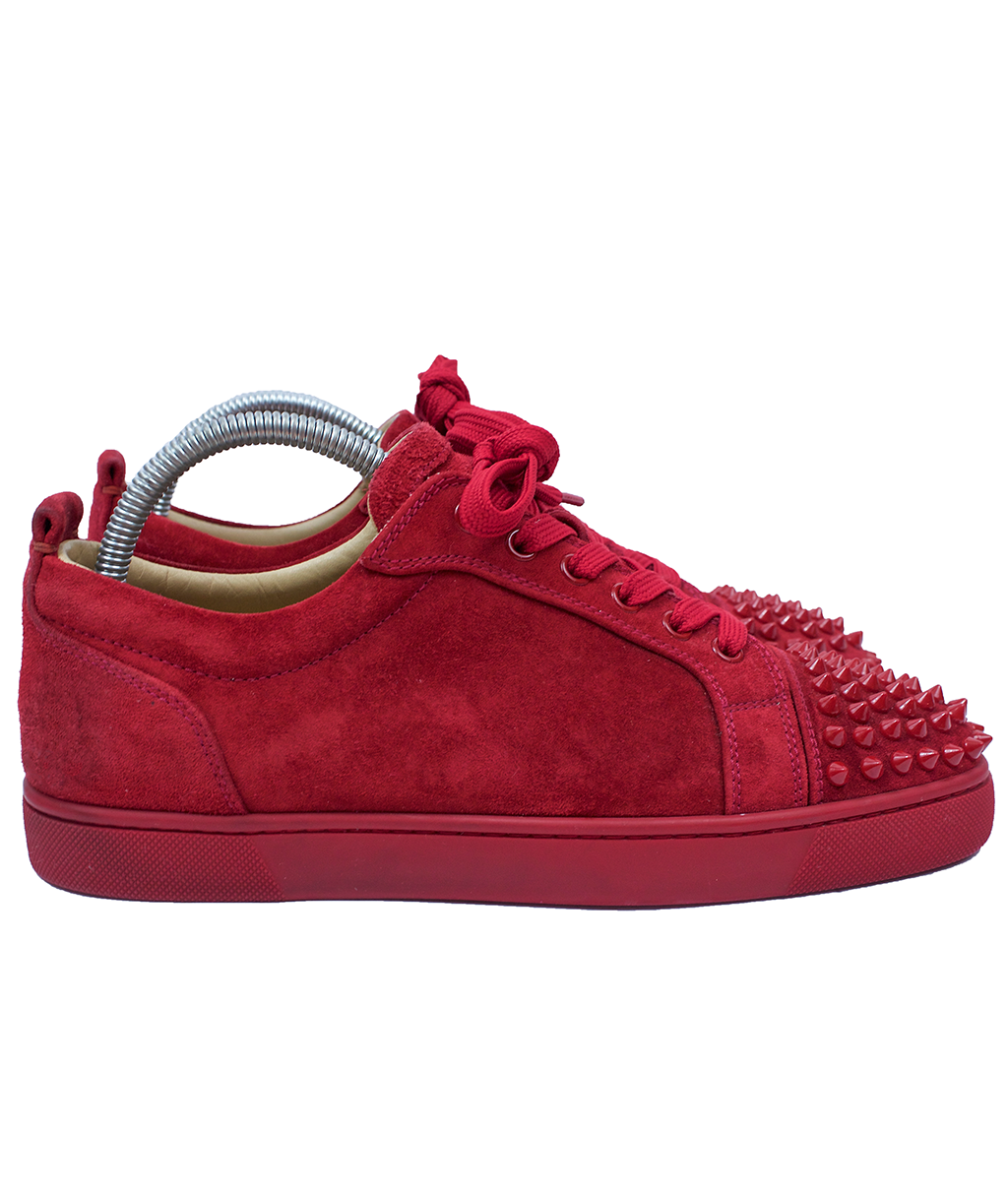 Christian Louboutin Red Low Top Suede Spike Sneakers  d1f2f0537658