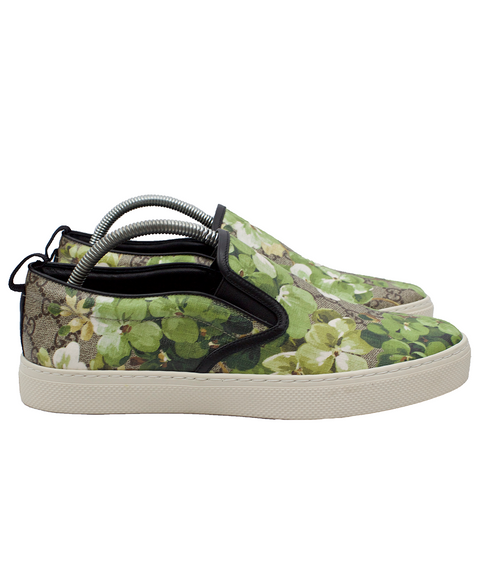 Gucci Green Floral Slip-On Sneakers