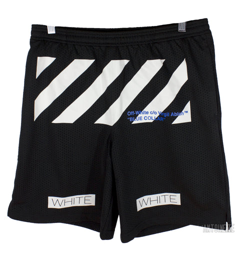 Off-White Black Blue Collar Mesh Shorts