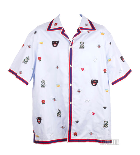 Gucci Blue Embroidered Bowling Shirt