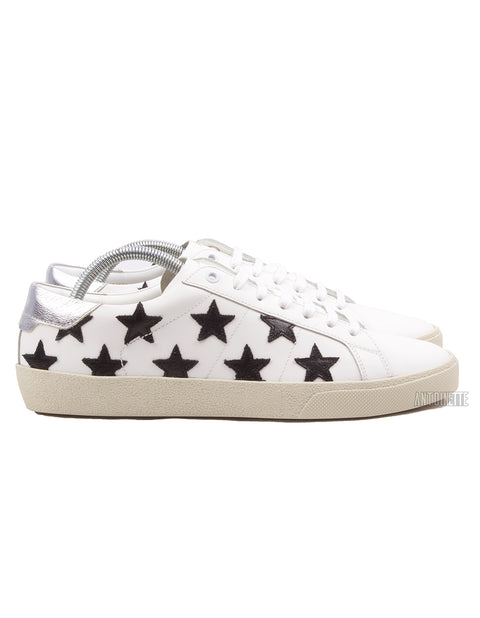 Saint Laurent White Court Classic SL/06 Black Star Leather Sneakers
