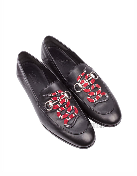 Gucci Black Snake Brixton Crushback Loafers
