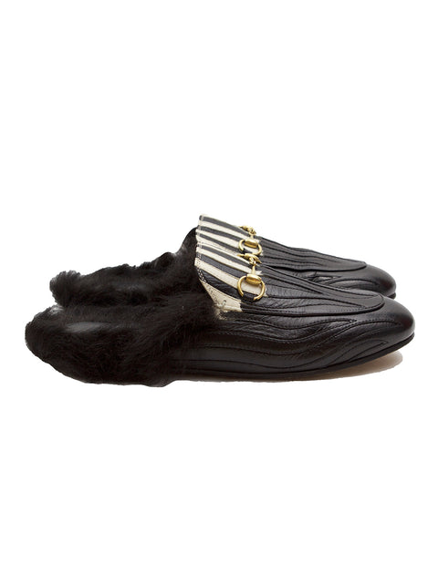 Gucci Black Leather Flames Princetown Slippers