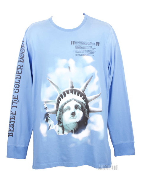 9b624971 Off-White Blue Statue Of Liberty Long-Sleeve Shirt