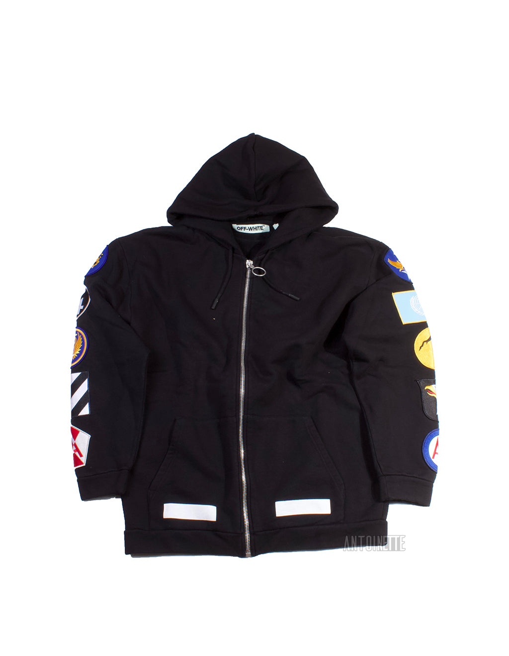 Off-White Black Patch Zip-Up Hoodie