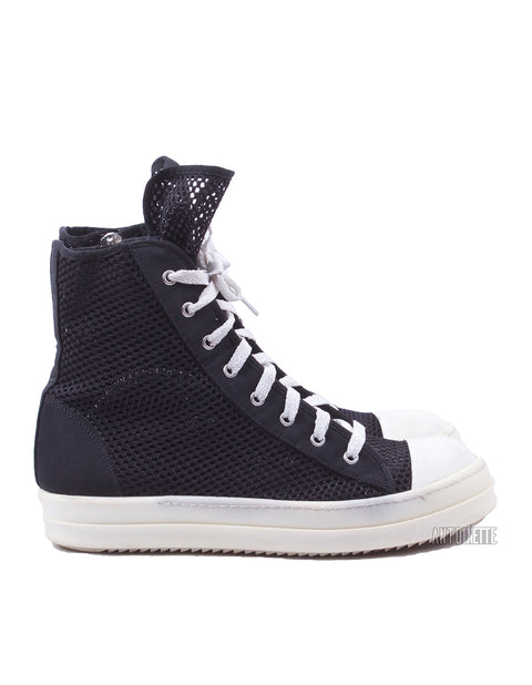 Rick Owens Black Mesh High-Top Ramone Sneakers