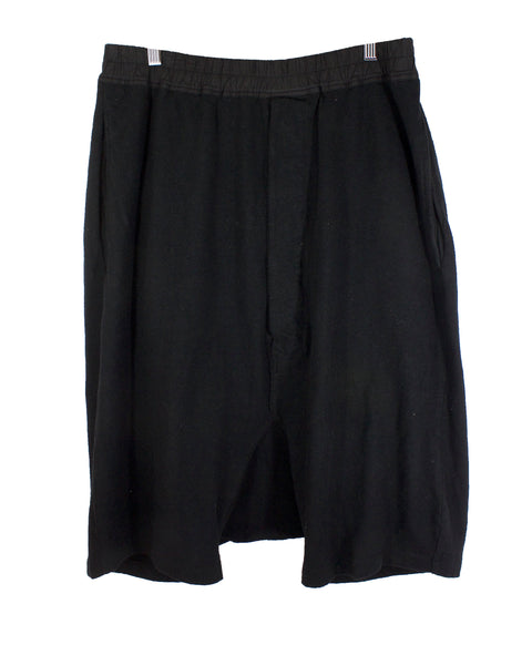DRKSHDW Rick Owens Black Drop Crotch Cotton Shorts