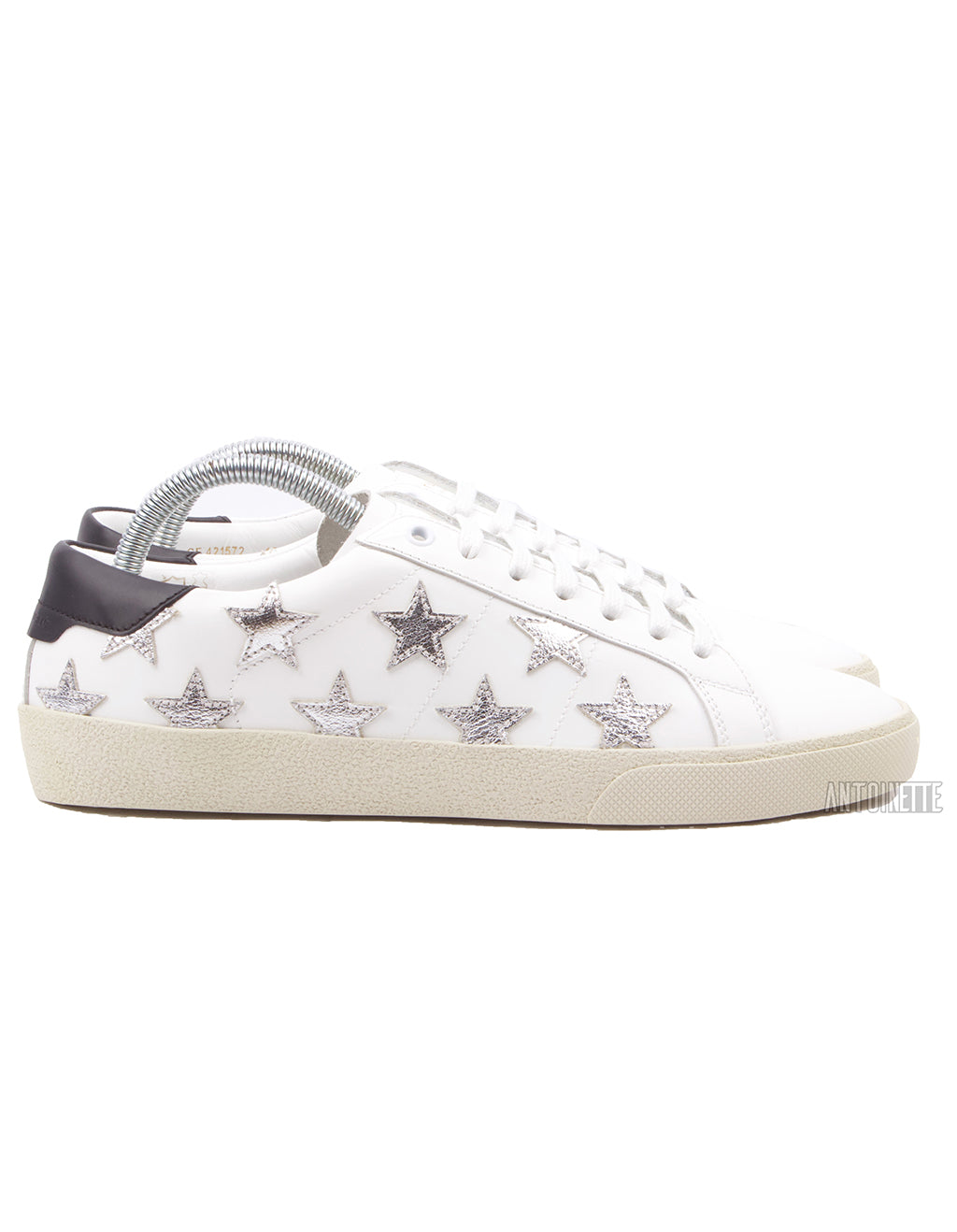 91c28b237d07 Saint Laurent White Court Classic SL 06 Metallic Star Leather Sneakers