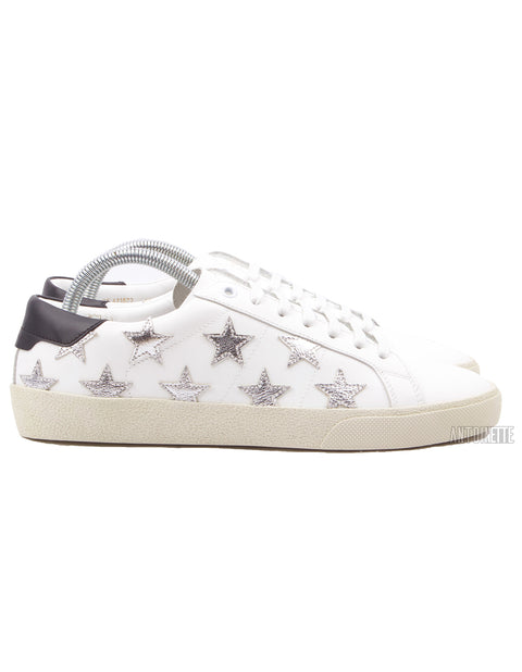 Saint Laurent White Court Classic SL/06 Metallic Star Leather Sneakers