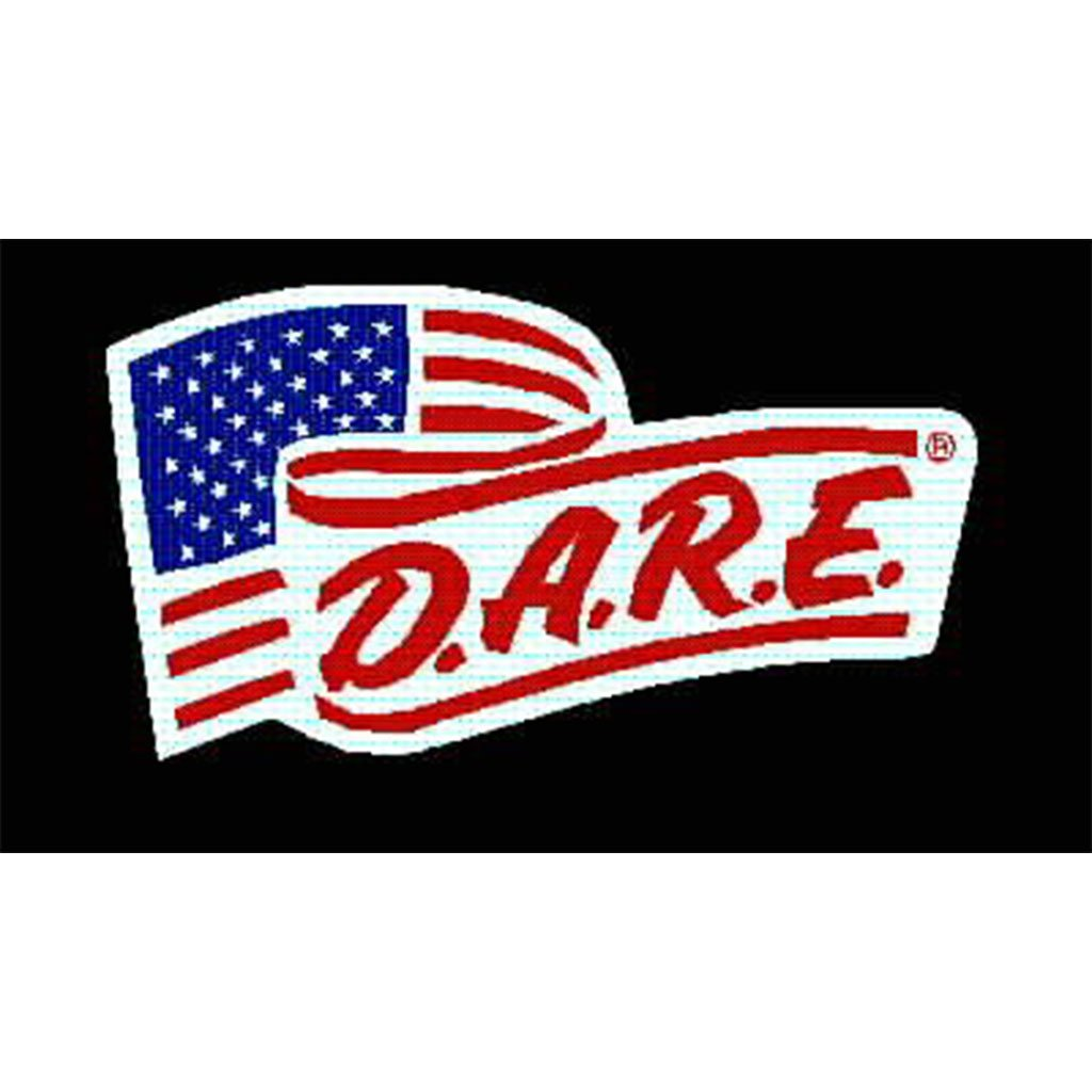 DARE Flag Vinyl Decal - White Background - Reflective