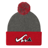 Waves & Wood Logo Pom Pom Beanie