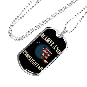 Maryland Firefighter Personalized Engraved Dog Tags Pendant Necklace For Men & Women