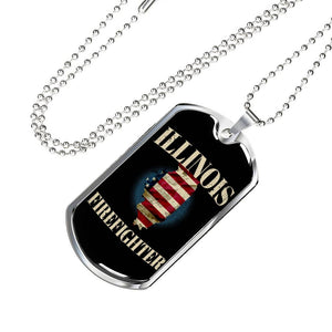Illinois Firefighter Personalized Engraved Dog Tags Pendant Necklace For Men & Women