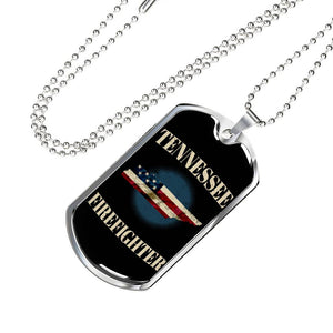 Tennessee Firefighter Personalized Engraved Dog Tags Pendant Necklace For Men & Women