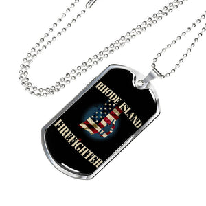 Rhode Island Firefighter Personalized Engraved Dog Tags Pendant Necklace For Men & Women