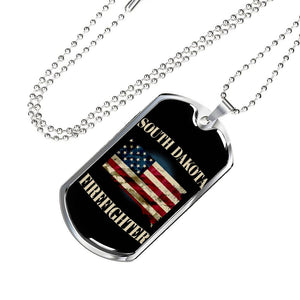 South Dakota Firefighter Personalized Engraved Dog Tags Pendant Necklace For Men & Women