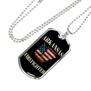 Arkansas Firefighter Personalized Engraved Dog Tags Pendant Necklace For Men & Women